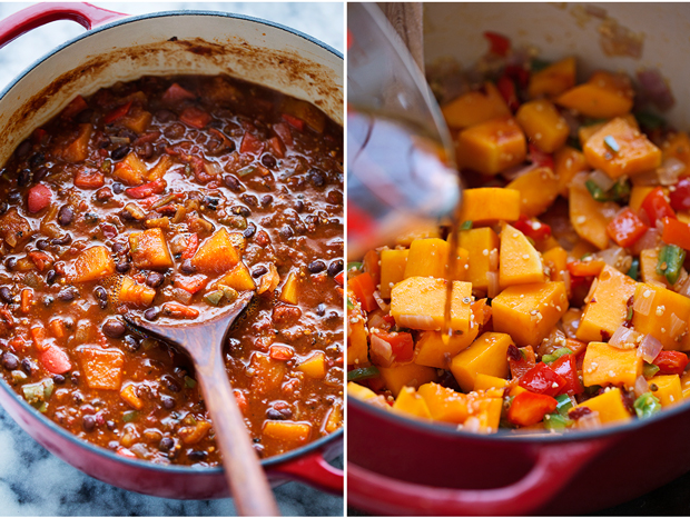 Chipotle Butternut Squash Chili - completely vegan but so hearty and delicious! #veganchili #butternutsquashchili #chipotlechili | littlespicejar.com @littlespicejar