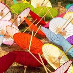 "Decorative, hand-painted umbrellas drying in the in near Borsang, Thailand, aka ""The Umbrella Village."" #travel #thailand #umbrella"