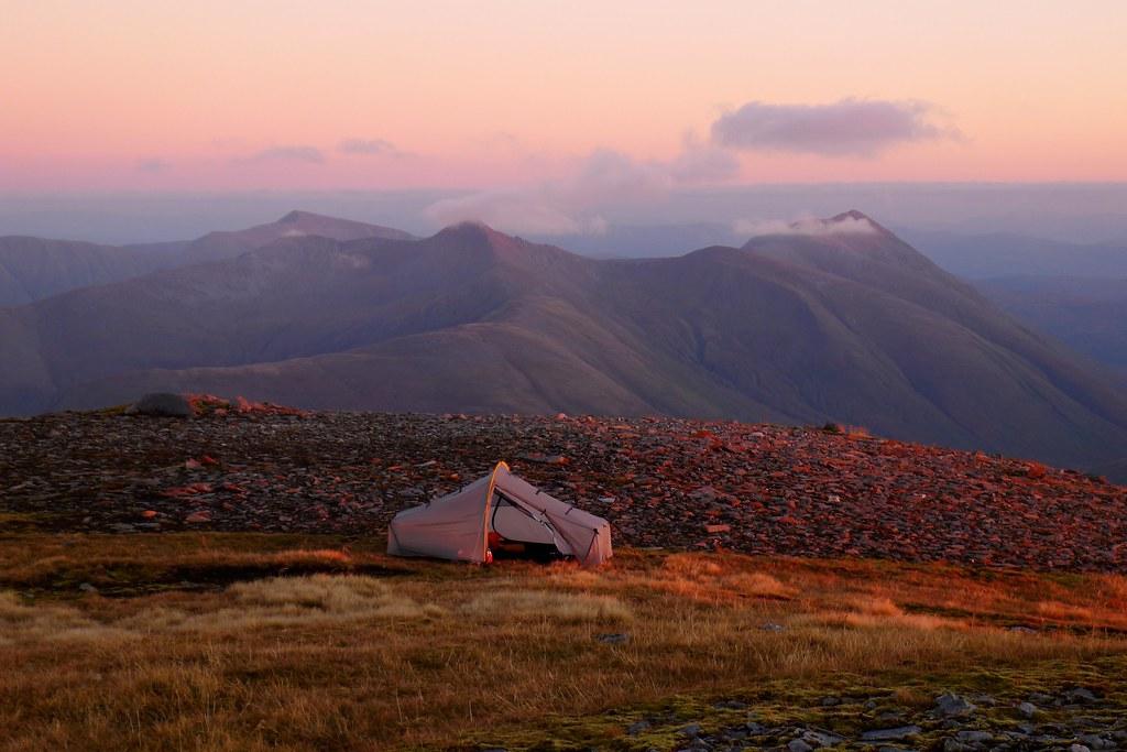 Tent on Sgùrr nan Ceathreamhnan