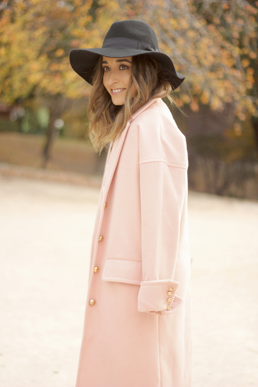 Black and White Dress Pink Coat Black Hat outfit style over the knees boots13