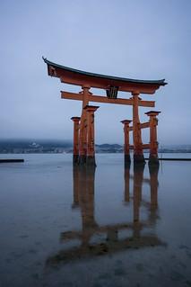 Image of Itsukushima Shrine near Miyajima. reflection japan shrine hiroshima miyajima lowtide torii itsukushimajinja