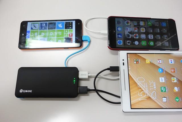 Eachine モバイルバッテリー スリム Slim X3 ケーブル内臓 6000mAh大容量 超薄型モバイルバッテリー 3出力ポート 同時充電