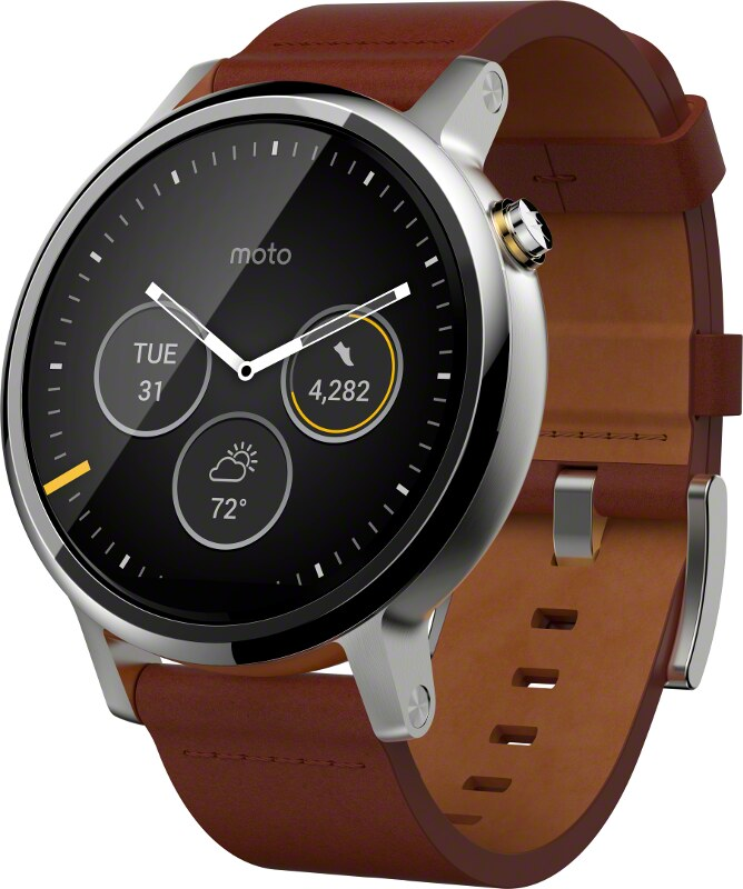 Moto 360 v2 - 46mm Silver case with Cognac Leather band