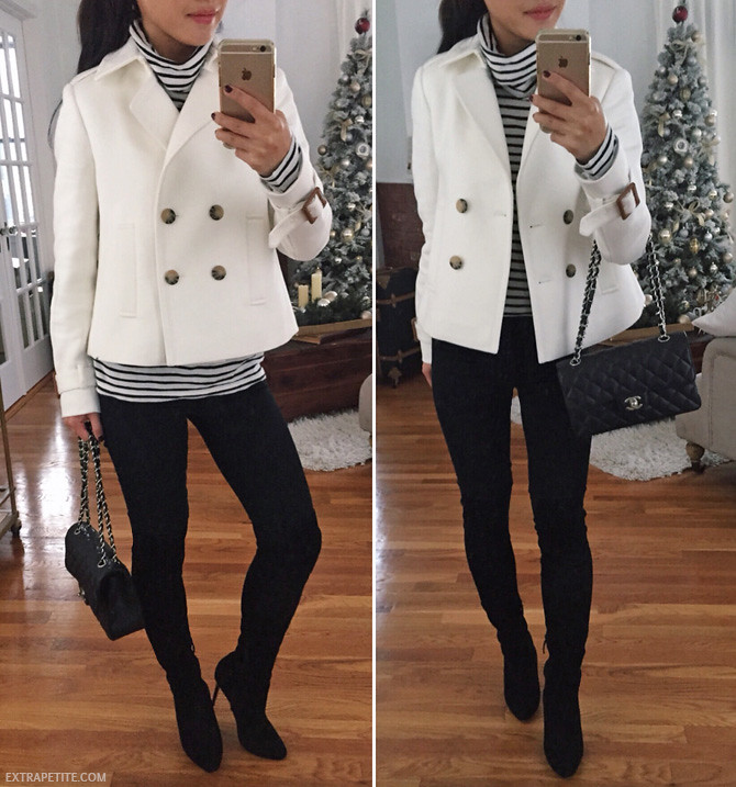 white jacket black jeans ann taylor petite outfit
