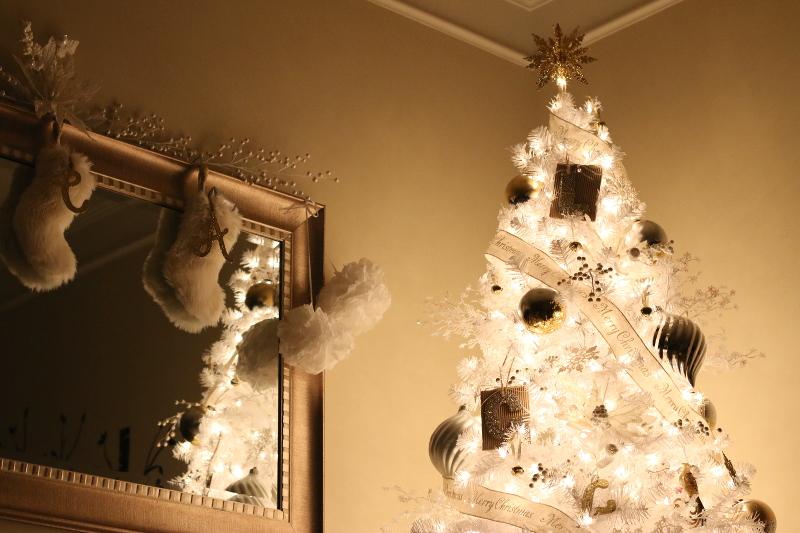 white christmas tree, mirror, stockings