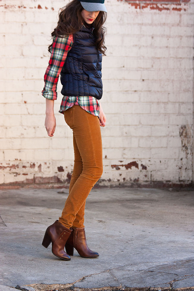 Layered Fall Outfit, Navy Puffy Vest, Red and Green Plaid Shirt, Corduroy Pants