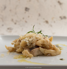 Trofie with chicken and Parmesan.