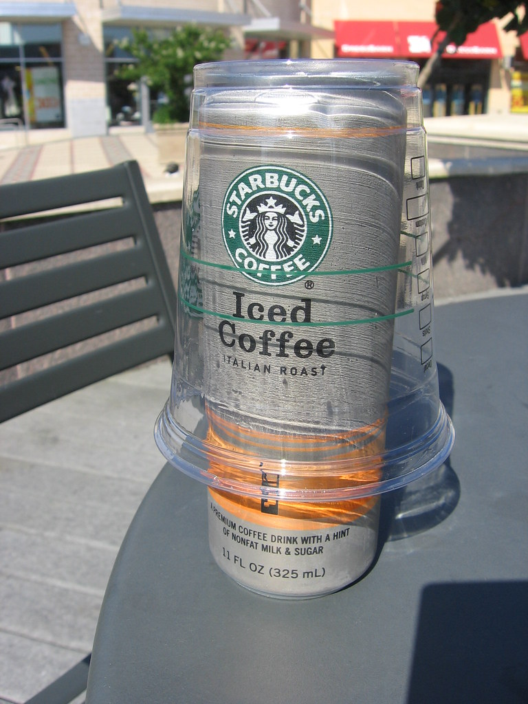 drinking starbucks iced coffee in a can 1