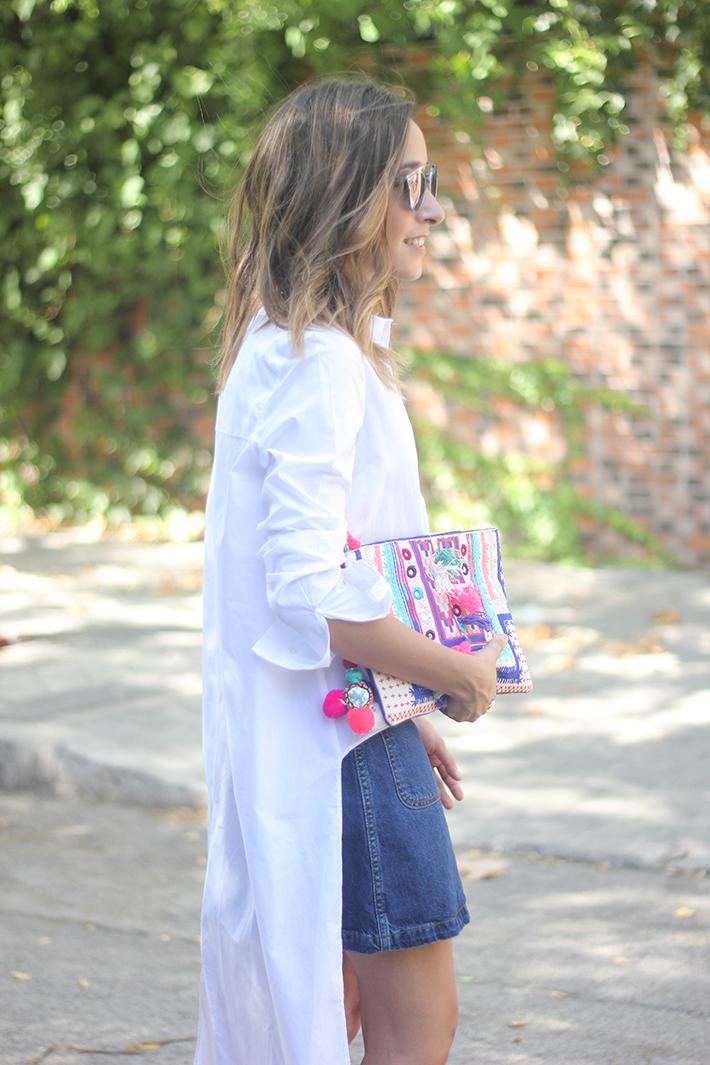 Long Shirt With Denim Skirt Summer Outfit 19