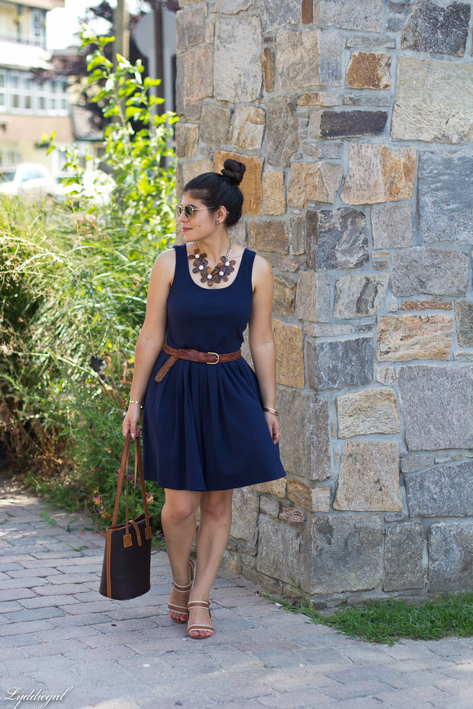 navy dress, dooney and burke tote, tortoise flower necklace-1.jpg