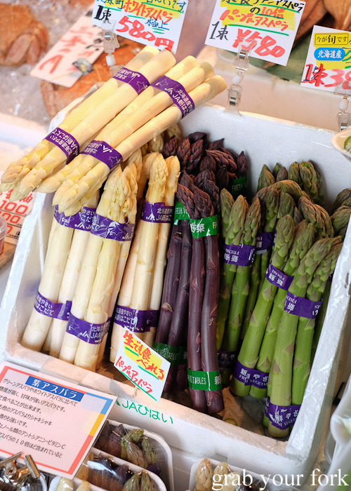 White, purple and green asparagus at Nijo Market, Sapporo