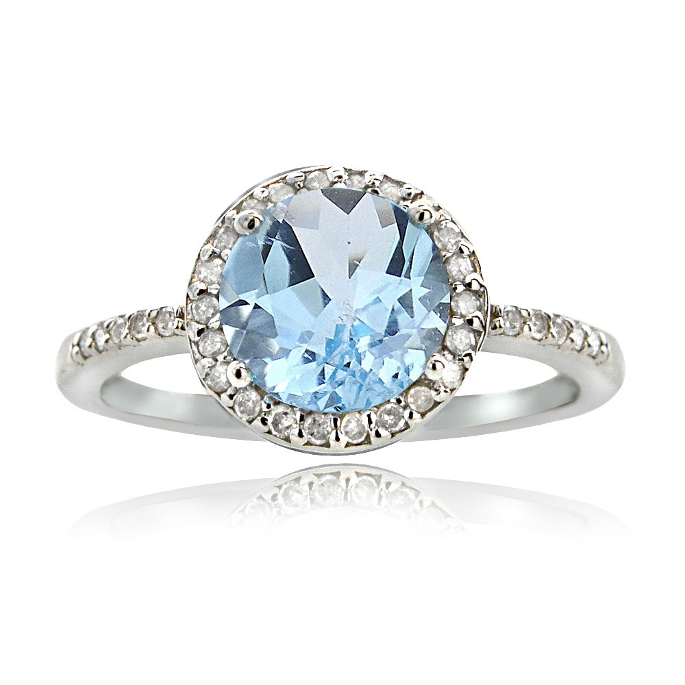 925 Silver 2.5ct Blue Topaz & 1/6ct Diamond Solitaire Ring ...
