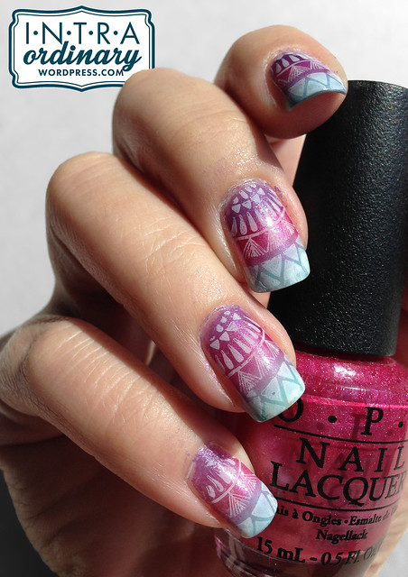 Colorful Gradient Nails w/ a stamp