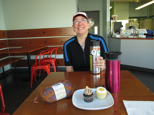 Beth, our coffees, my pastries and The Knitting