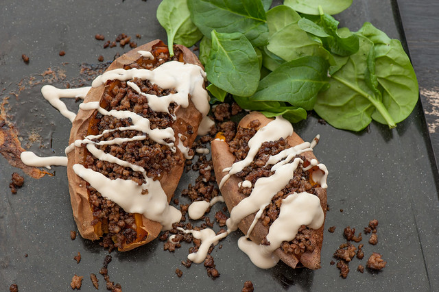 Stuffed Sweet Potato with Tahini Sauce