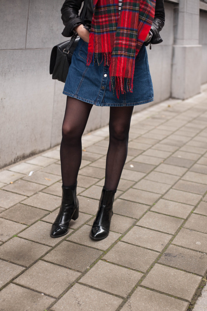 denim a-line skirt, patent boots