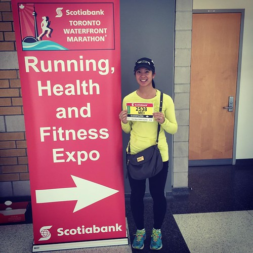 Mei with her race bib at the expo.