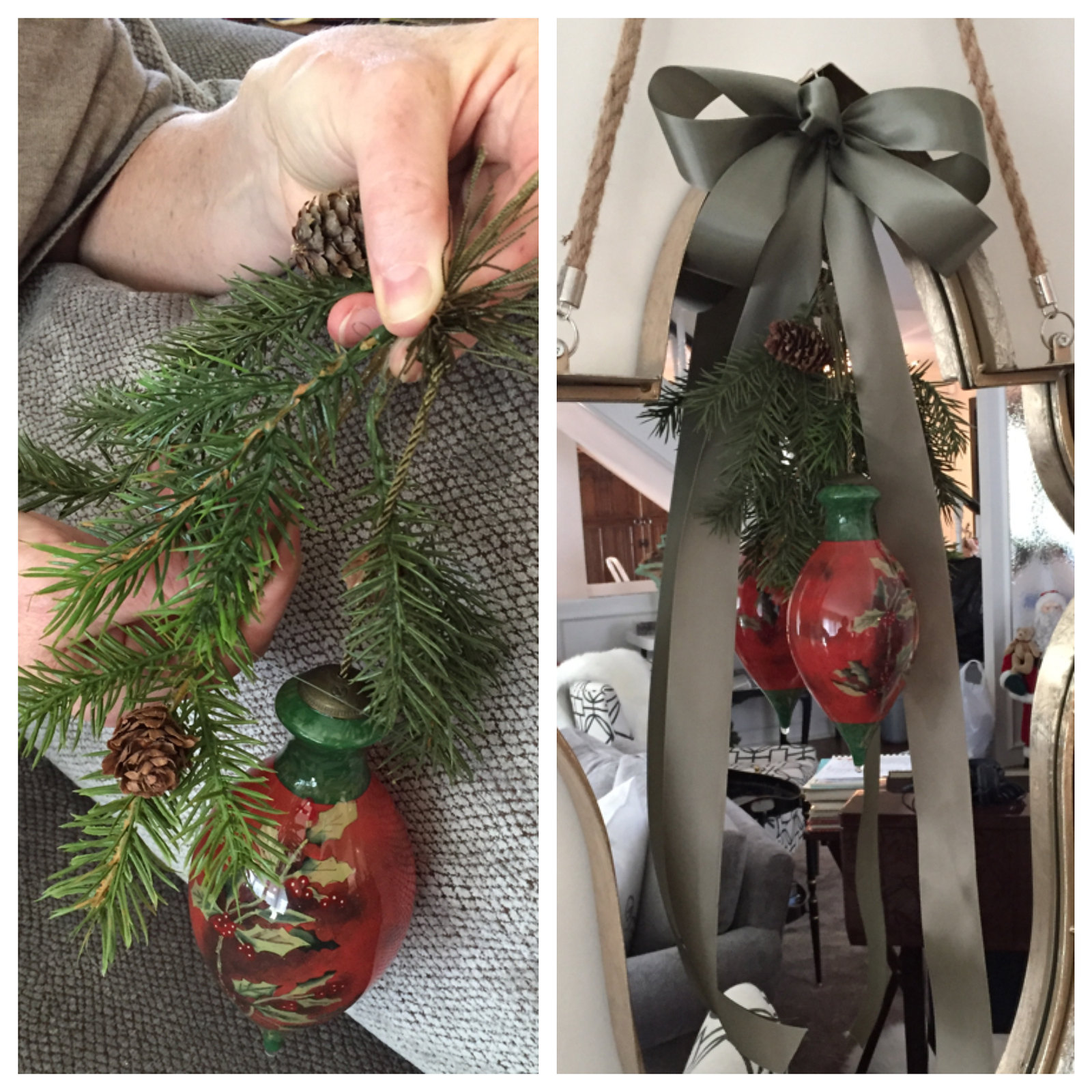tying together greens, ribbon and bauble for a handmade Christmas decor item