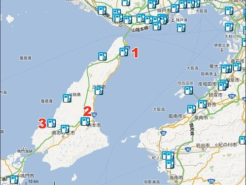淡路島 急速充電器マップ
