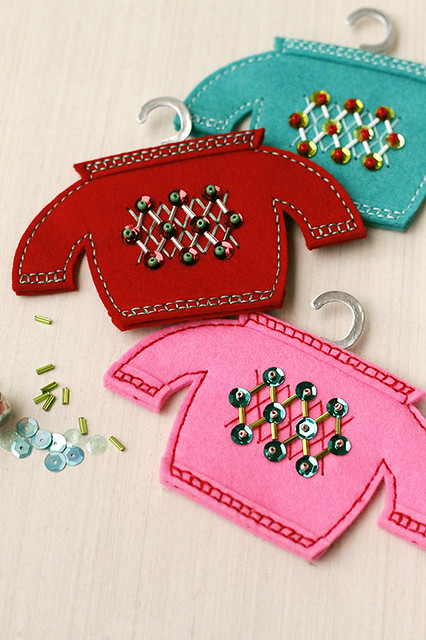 Softie Sweaters with Beaded Motifs from Papertrey Ink's Beaded Holiday Stitch Kit