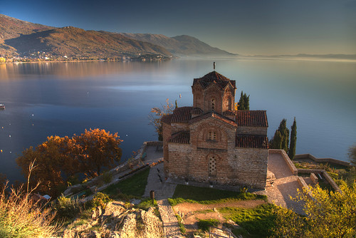 autumn sunset lake macedonia ohrid fyrom македонија охрид