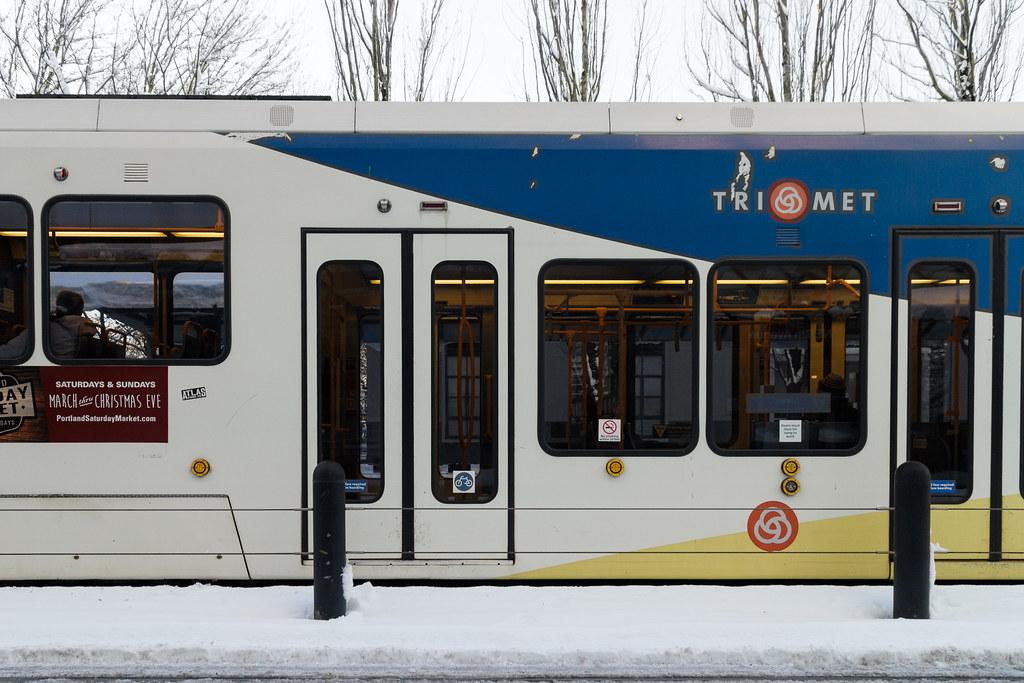 A MAX train in the snow in Portland, Oregon