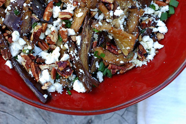 Pomegranate-roasted eggplant with toasted pecans, chives and feta cheese by Eve Fox, the Garden of Eating, copyright 2015