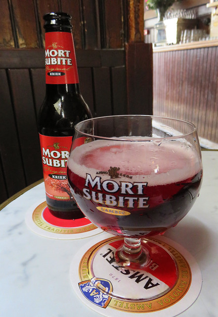 Having a Mort Subite Kreik in Café Hoppe, a 'brown cafe' (historic pub) in Amsterdam