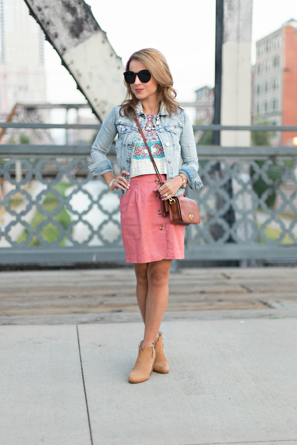Button-up skirt + denim jacket