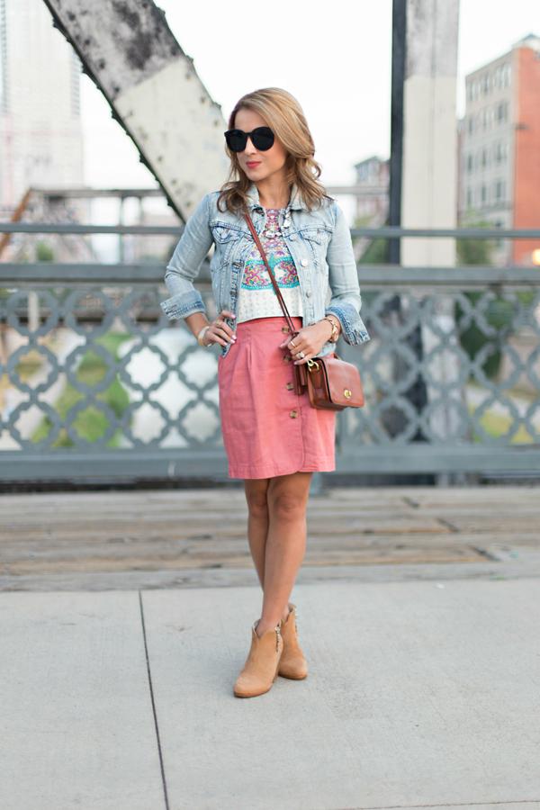 Button-up skirt + denim jacket
