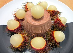 CHOCOLATE PANNA COTTA WITH RUM-MACERATED RAMBUTAN