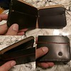 Random wallet project. Messing around with my Anchor wallet design. It came out nice, but not perfect. There's some flaws in the stitching, and a scratch on the back. However, it uses a very sturdy #thoroughbredleather wallet leather from @markcoxon01 and
