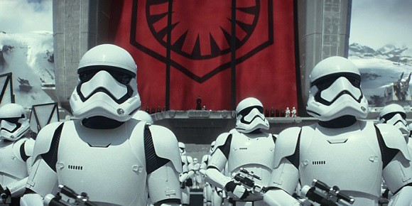 First Order Stormtroopers seen in Star Wars: The Force Awakens movie.