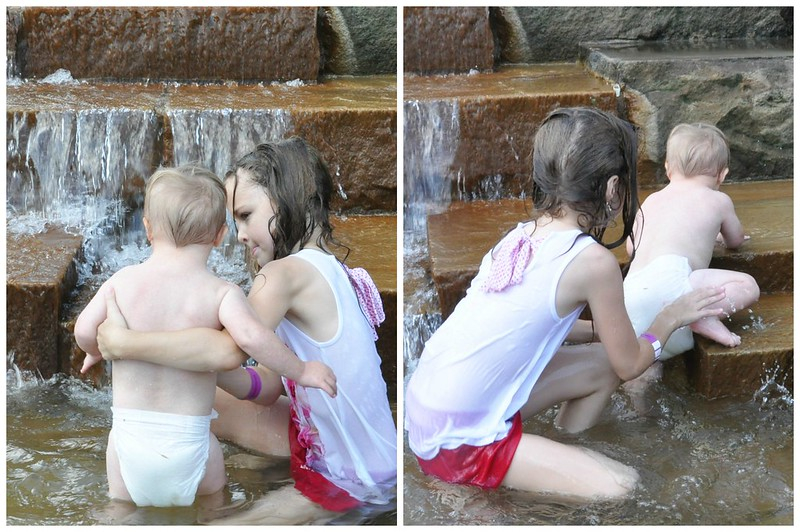 Liam and Lexie on Water Steps in Pittsburgh