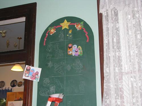 the start on the chalkboard Christmas tree