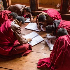 Monks studying in a monastery near Paro, #Bhutan #travel #buddhism