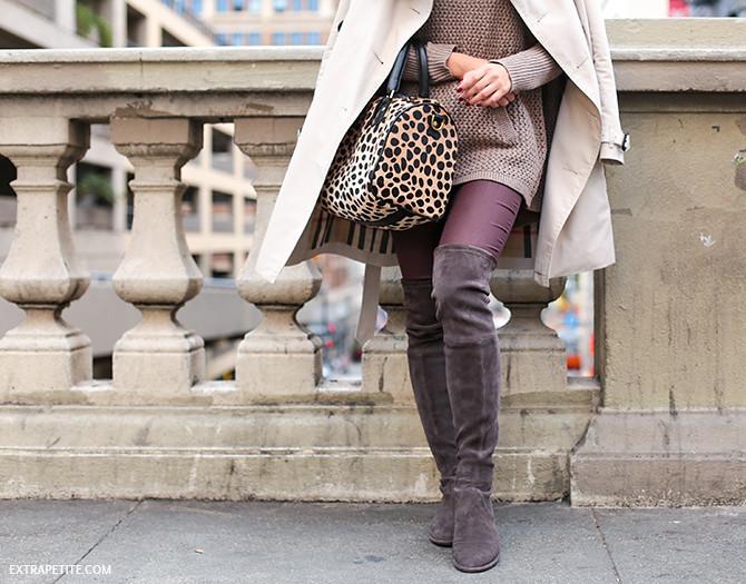 fall outfit stuart weitzman boots clare vivier leopard bag