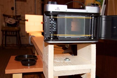 Оптическая скамья для настройки фототехники: вид со стороны камеры