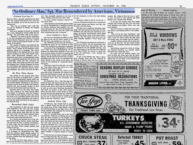 'No Ordinary Man,' Sgt. Mac Remembered by Americans, Vietnamese - Reading Eagle - Nov 20, 1966