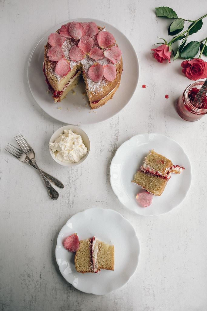 Victorian Sponge Cake with Raspberry Rose Jam & Sugared Rose Petalsg