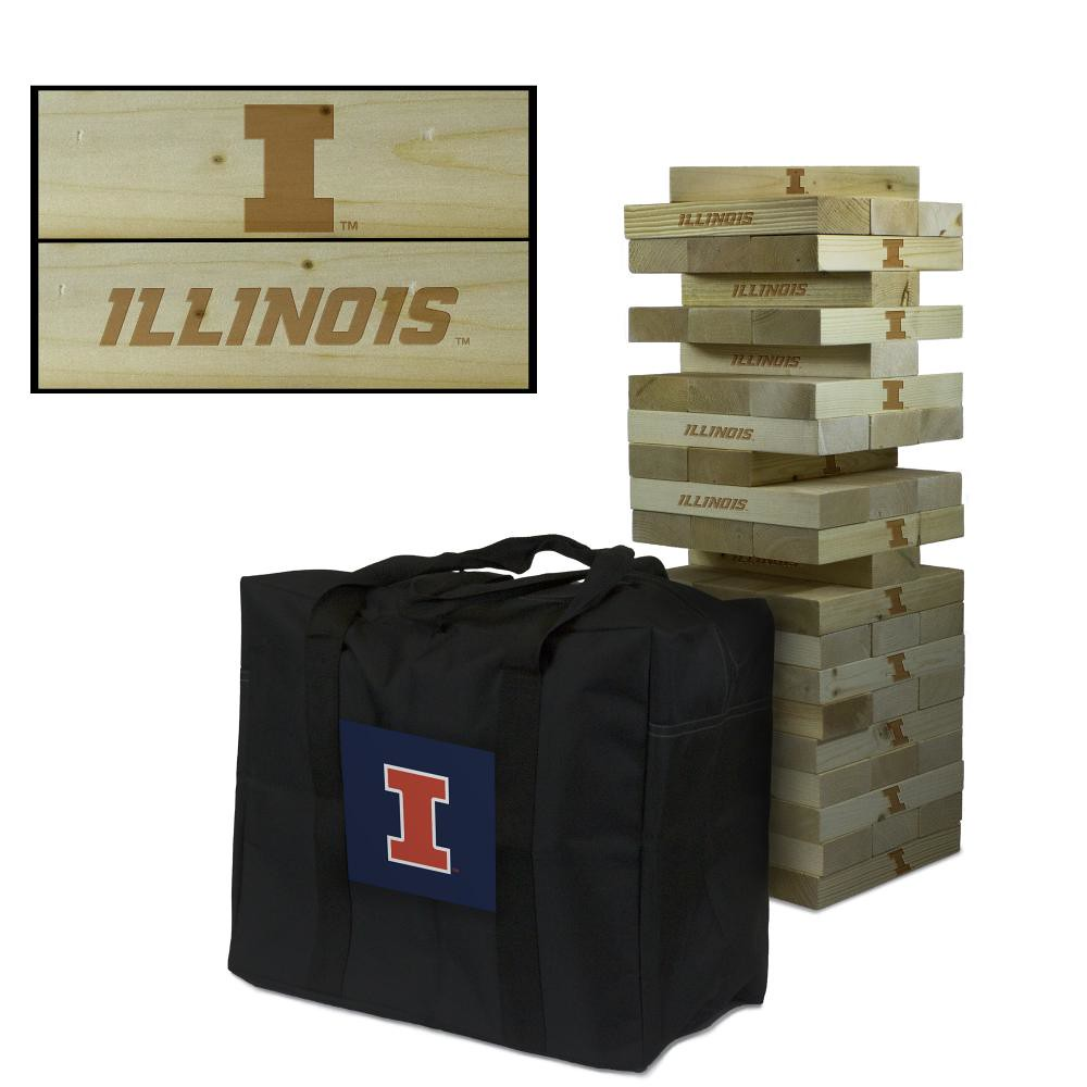 Illinois Fighting Illini Wooden Tumble Tower Game