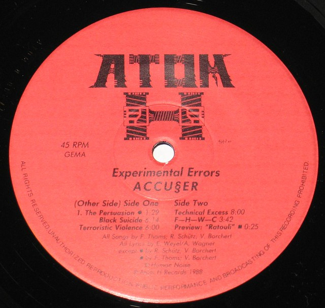 "Accuser / Accu§er Experimental Errors 45RPM 12"" Vinyl EP"