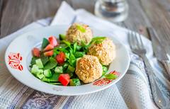baked chickpeas balls with sesame and vegetable sa…