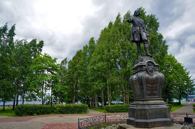 Pamyatnik Petru I. Petrozavodsk. Russia
