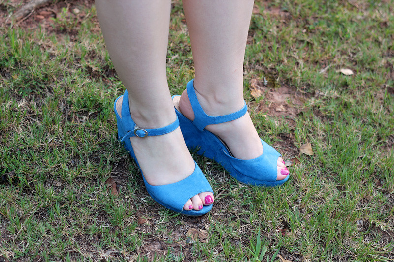 Light Blue Peeptoe Wedges