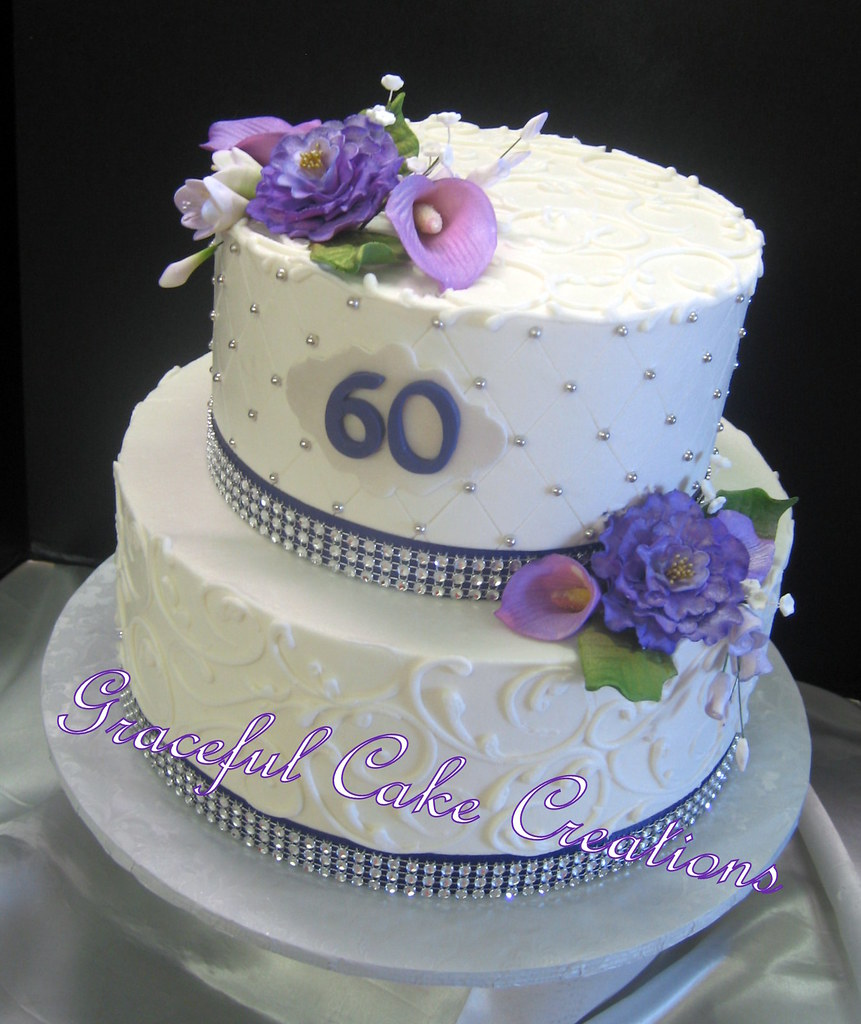 Elegant 60th Birthday Cake