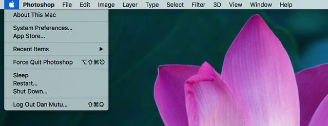 photoshop mac menu