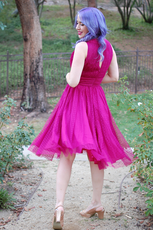 Iconic by UV 1950s Style Raspberry Halter Roosevelt Swing Dress
