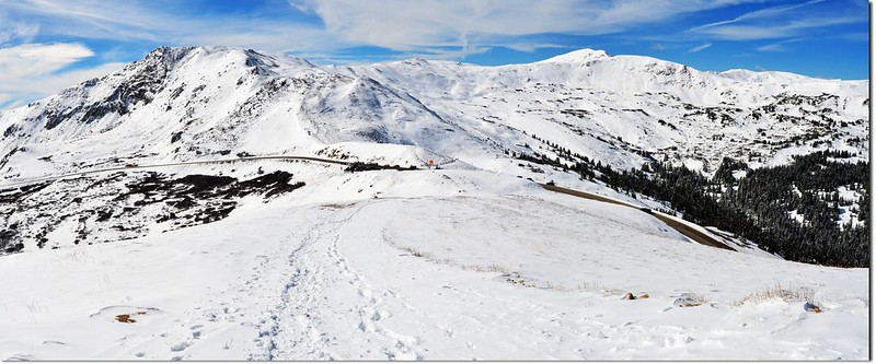 Looking down onto Loveland Pass from Point 12,915' below