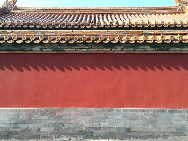 Red wall and roof.
